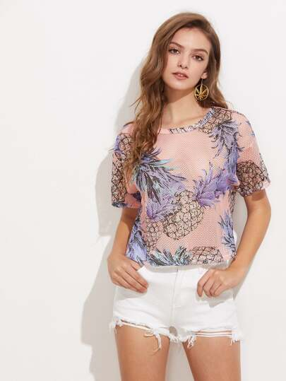 Pineapple Print Drop Shoulder Fishnet Top