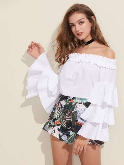 Frilled Bardot Neck Layered Bell Sleeve Top