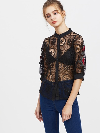Lace Embroidered Button Front Top