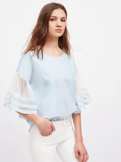 Contrast Mesh Striped Sleeve Drop Shoulder Blouse