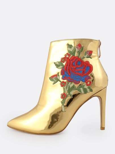 Embroidered Patent Booties GOLD
