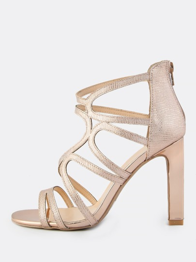 Metallic Reptile Print Zip Up Heels ROSE GOLD