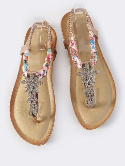 Embellished Metallic Thong Sandals ROSE GOLD
