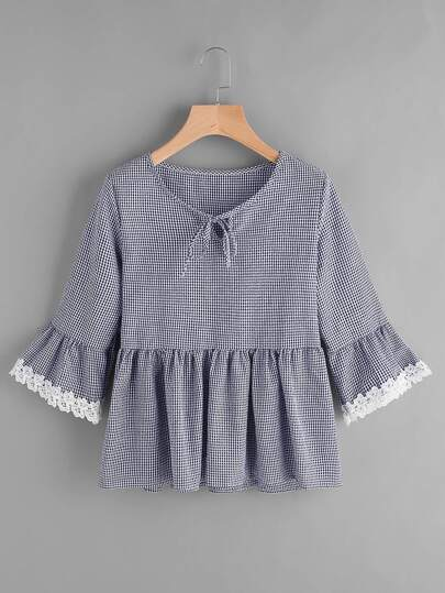 Gingham Bell Sleeve Lace Trim Smock Top