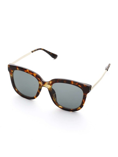 Leopard Design Square Sunglasses