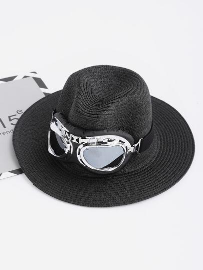 Cappello in paglia con vetri pilota abbelliti