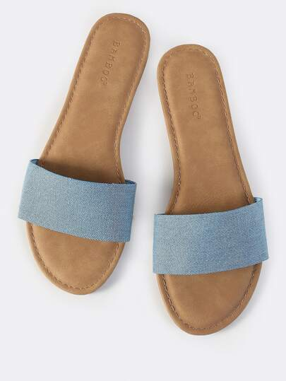 Classic Denim Slip On Sandals BLUE DENIM