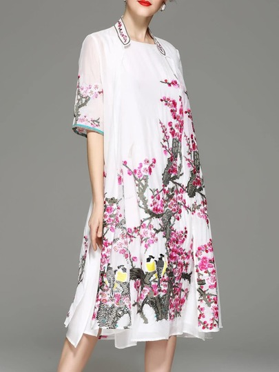 Flowers Embroidered Split Dress