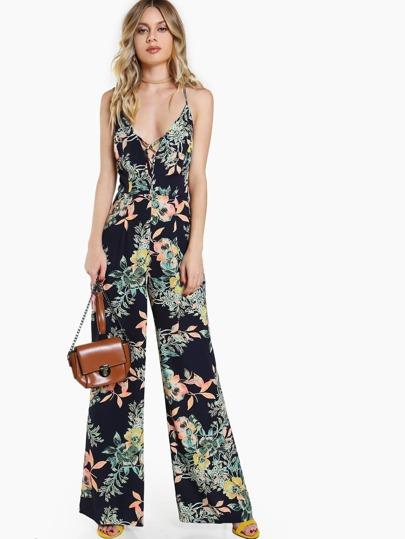 Lace Up Spaghetti Strap Floral Print Jumpsuit BLACK