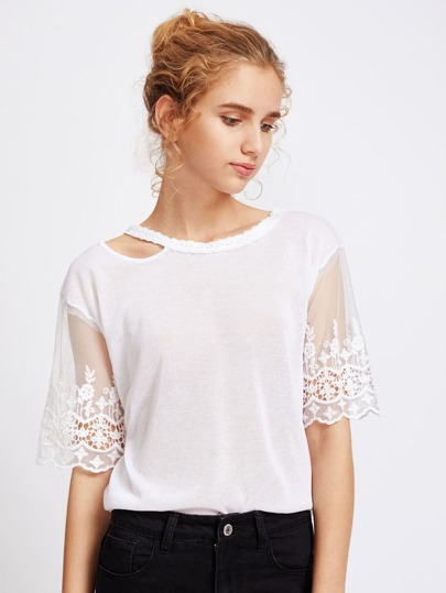 Embroidered Paneled Mesh Cut Out Neckline Blouse