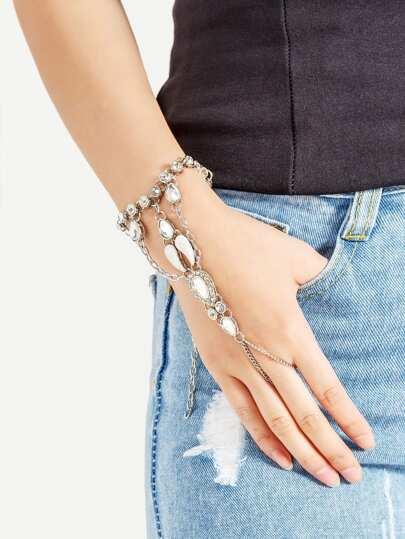 Rhinestone Design Connecting Toe Ring Bracelet
