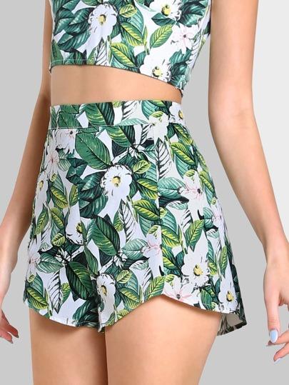 Floral Print High Waist Shorts GREEN MULTI