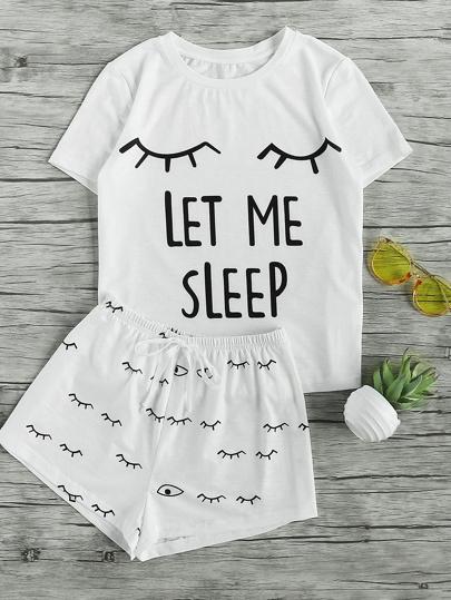 T-Shirt mit Augenmuster und Shorts Pajama Set