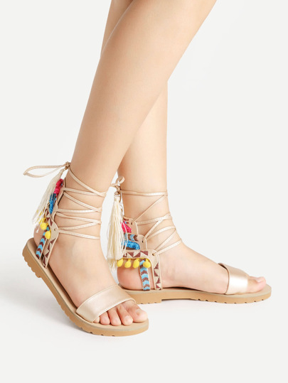 Pom Pom And Tassel Decorated Lace Up Sandals