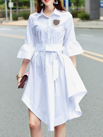 Bell Sleeve Beading Asymmetric Dress