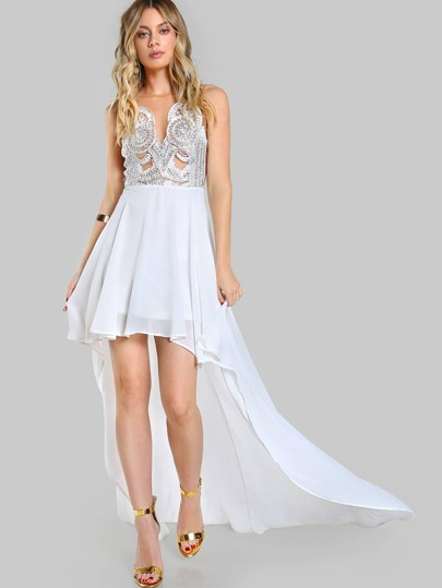 Mesh Crochet High Low Dress IVORY