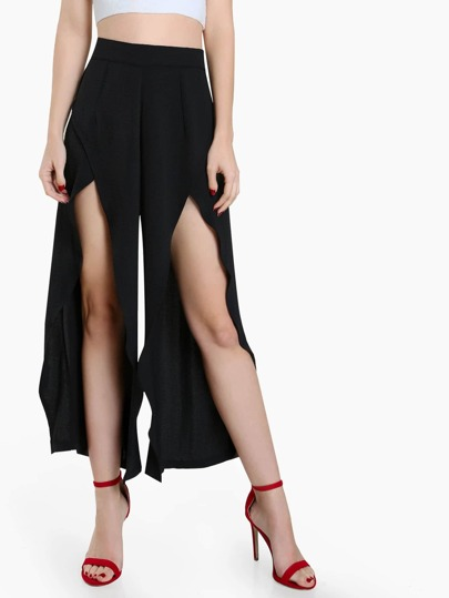 Front Slit High Waist Pants BLACK