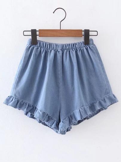 Shorts en denim con cintura elástica con volantes