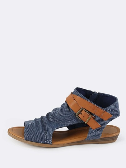 Ruched Denim Shield Sandals BLUE DENIM