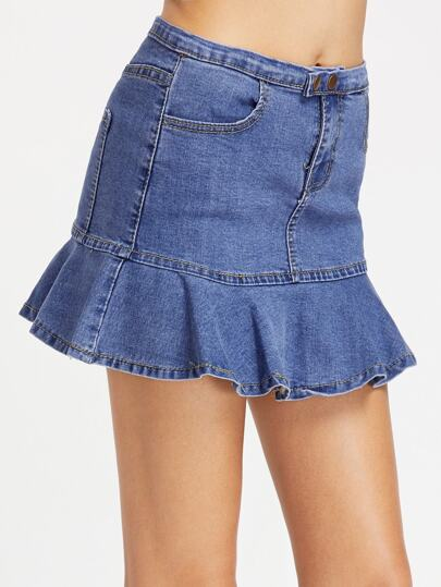 Pocket Flare Denim Skirt
