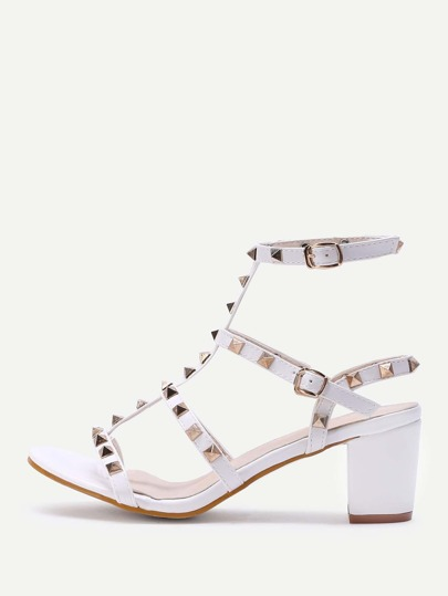 Rockstud Embellished Block Heeled Sandals