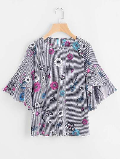 Tiered Bell Sleeve Printed Blouse