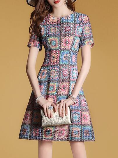 Color Block Embroidered Mesh Dress