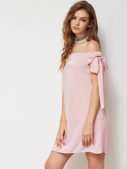 Self Tie Sleeve Bardot Dress
