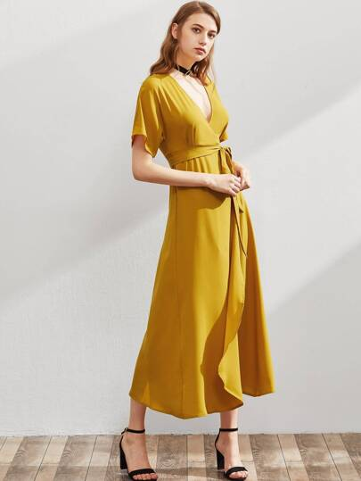 Plunging V-neckline Wrap Dress