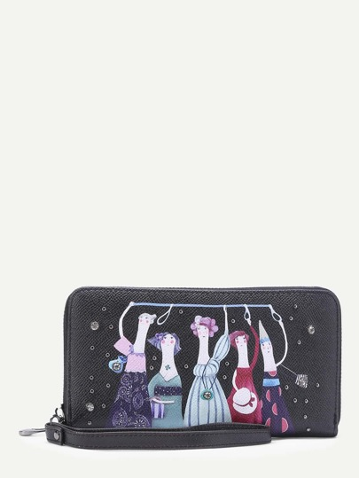 Cartoon Print PU Wallet With Studded