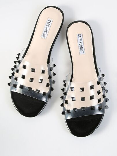 Clear Studded Slip On Sandals BLACK