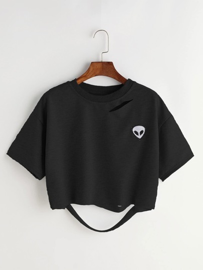 Alien Patch Ripped Back Crop Tee