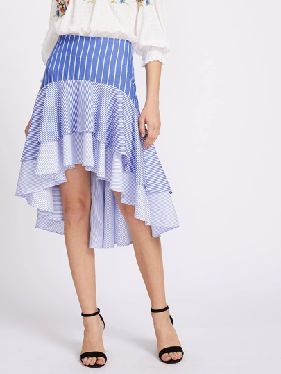 Drop Waist Tiered Mixed Stripe Skirt