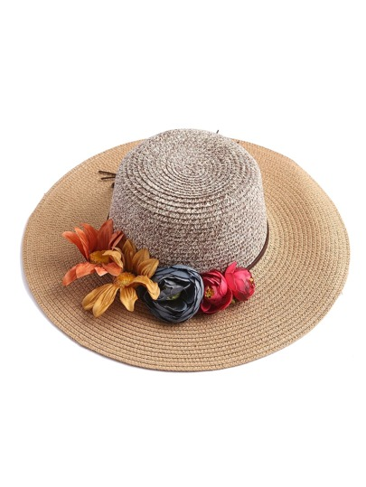Flower Embellished Floppy Straw Hat