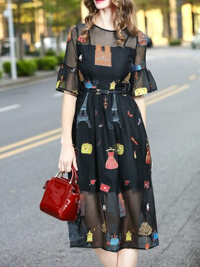 Bell Sleeve Embroidered Sheer Dress