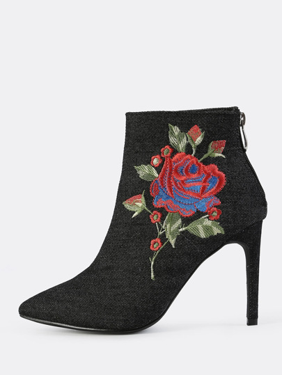 Closed Toe Denim Embroidered Booties BLACK