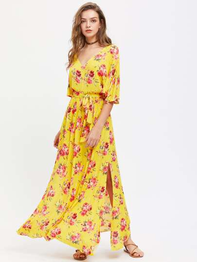 Deep V Cut Slit Sleeve Self Tie Beach Dress