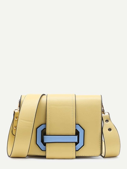 Two Tone Buckle Detail Shoulder Bag