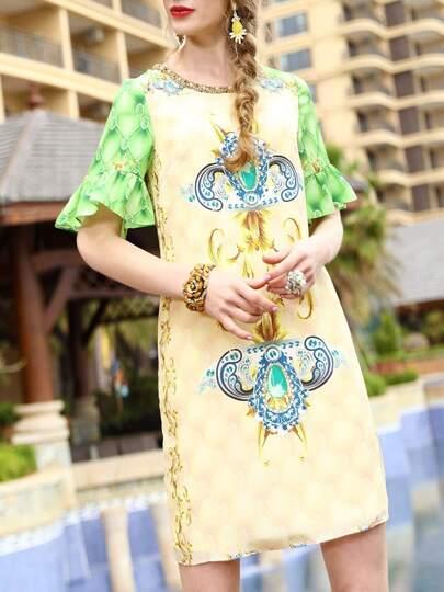 Bell Sleeve Beading Tribal Print Dress