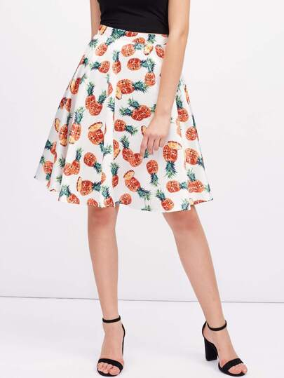 Allover Pineapple Print Circle Skirt