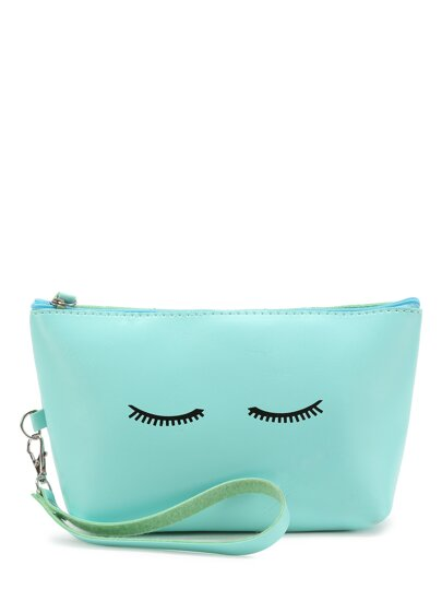 Eyelash & Slogan Print Wristlet Bag
