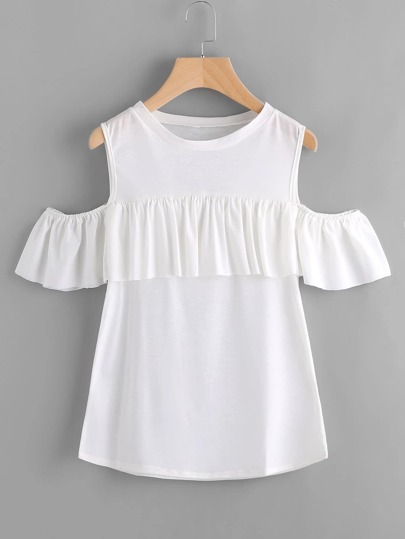 Frill Trim Open Shoulder Tee