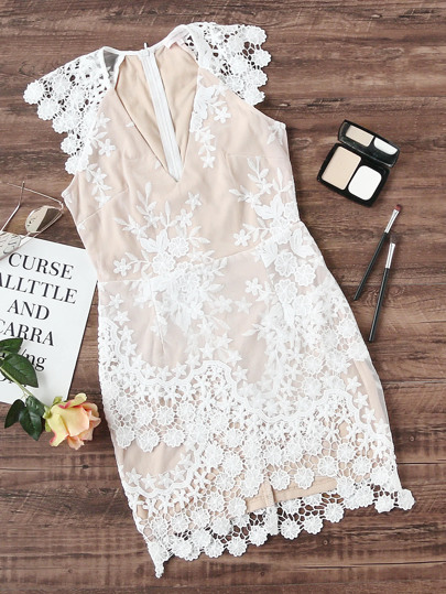 Plunging V-Neckline Crochet Trim Embroidered Mesh Overlay Dress