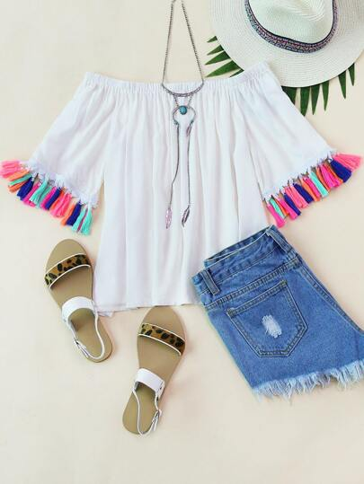 Off Shoulder Tassel Hem Blouse