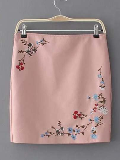 Flower Embroidery Zipper Side PU Skirt