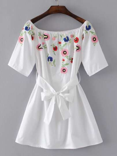 Boat Neckline Embroidery A Line Dress With Self Tie
