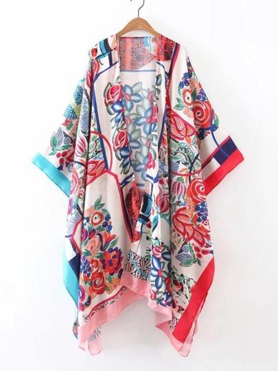 Kimono asimétrico abierto en la parte delantera