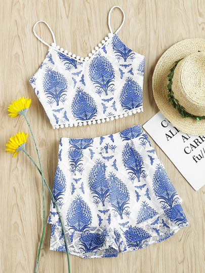 Dot Crochet Trim Tropical Mesh Cami And Shorts Set