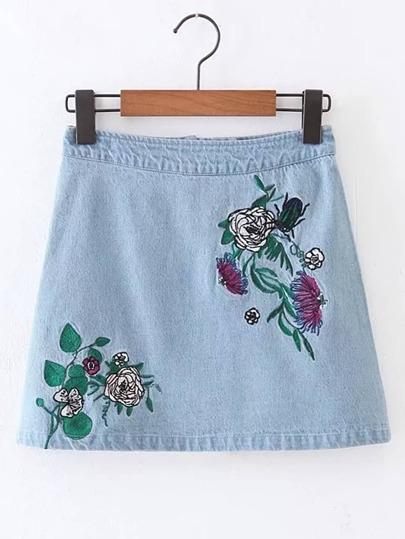Flower Embroidery Zipper Back Denim Skirt
