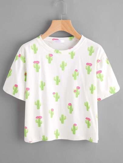 T-Shirt mit Kaktusmuster